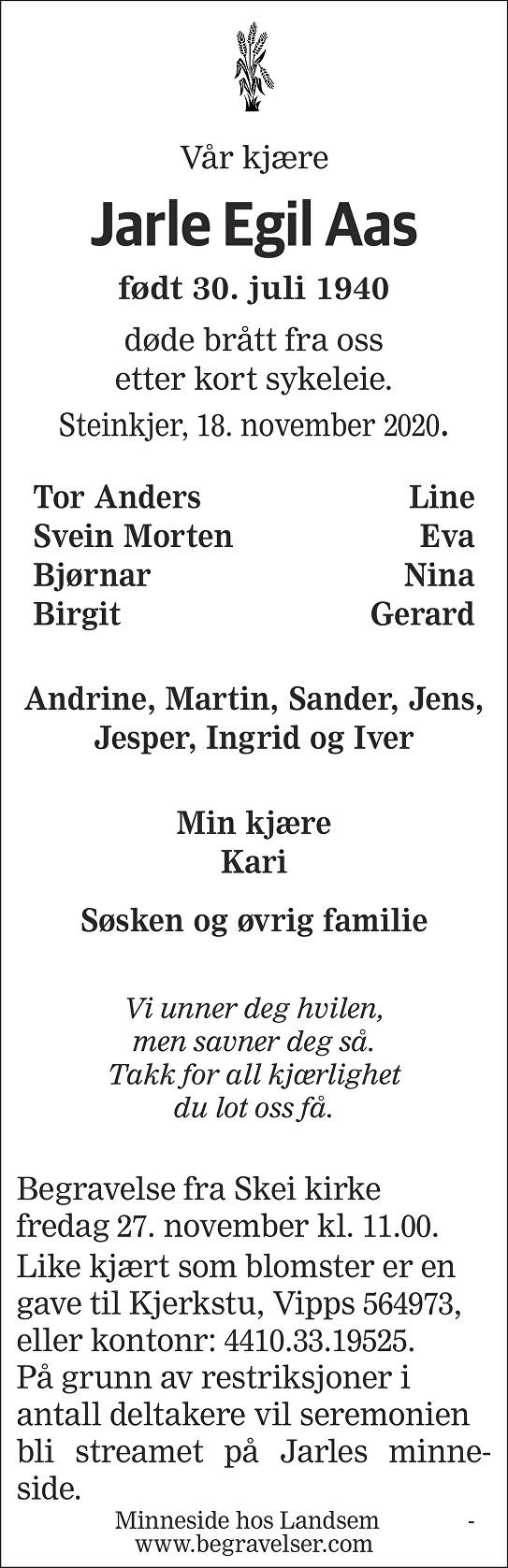 Jarle Egil Aas Dødsannonse