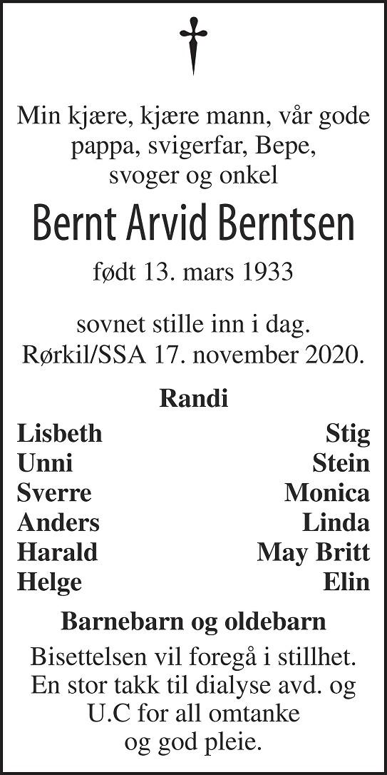 Bernt Arvid Berntsen Dødsannonse