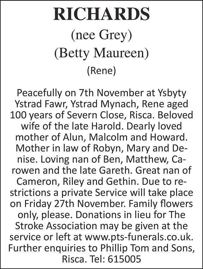 Betty Maureen Richards Death notice