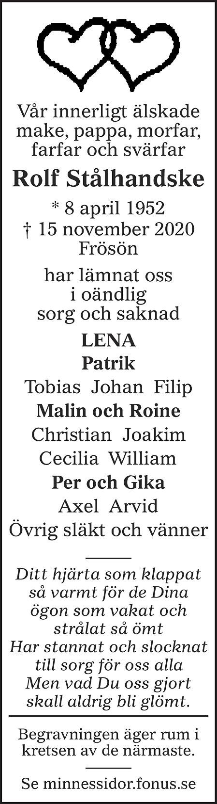Rolf Stålhandske Death notice