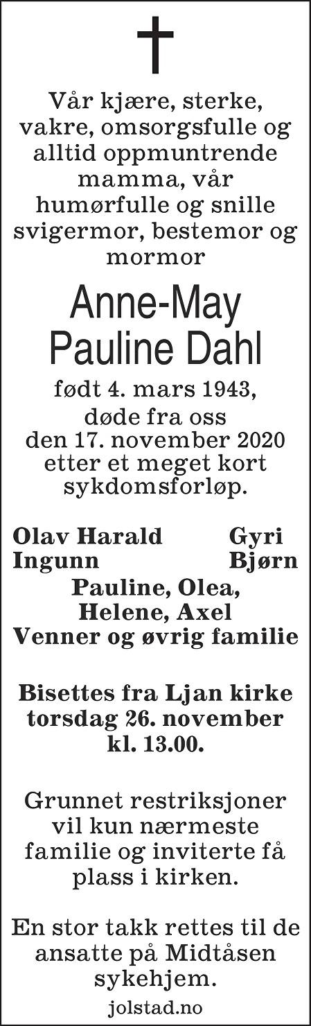 Anne May Pauline Dahl Dødsannonse