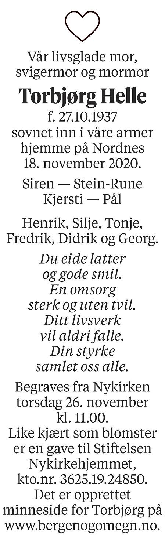 Torbjørg Helle Dødsannonse