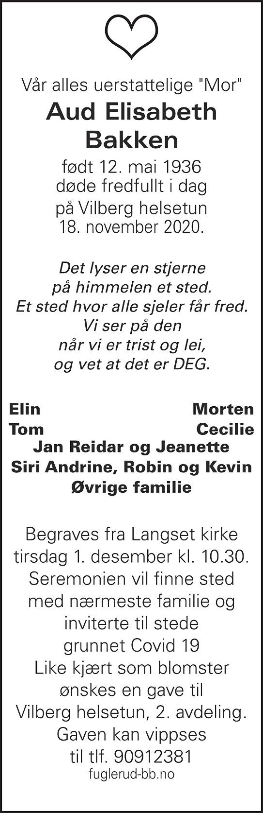 Aud Elisabeth Bakken Dødsannonse