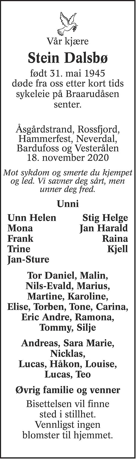 Stein Dalsbø Dødsannonse