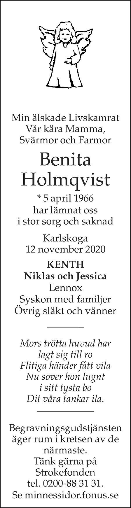 Benita Holmqvist Death notice