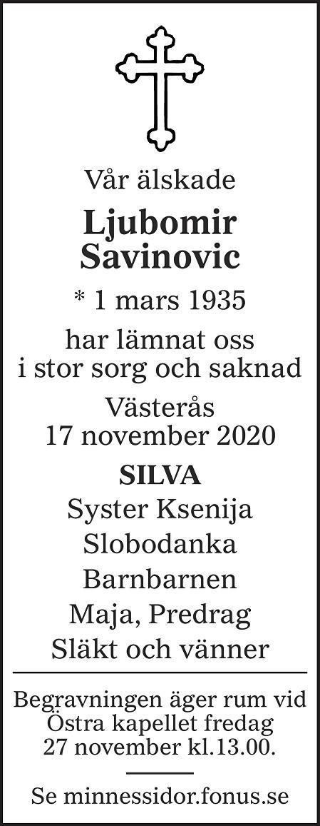 Ljubomir Savinovic Death notice