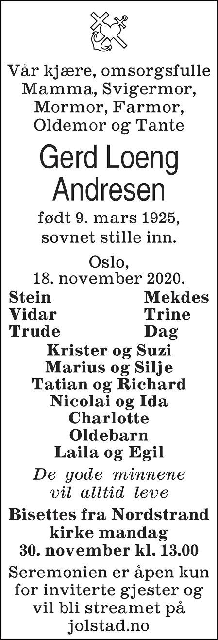 Gerd Inga Andresen Dødsannonse