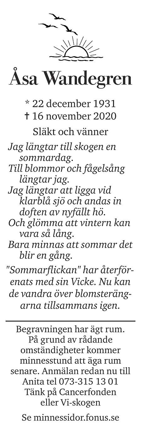 Åsa Margareta Wandegren Death notice