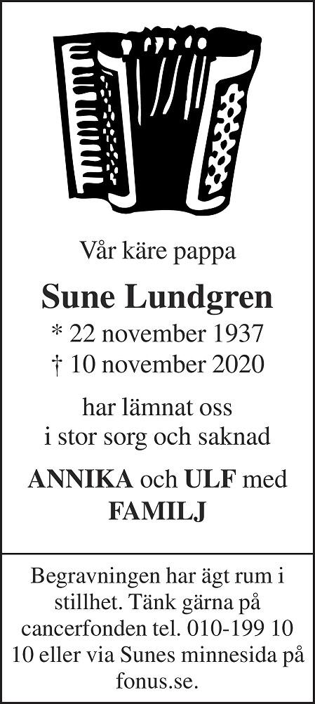 Sune Lundgren Death notice