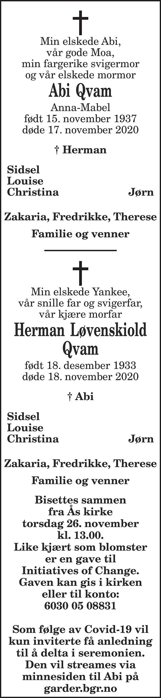 Anna-Mabel Qvam Dødsannonse