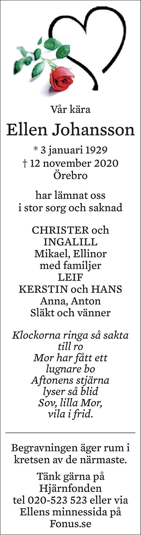 Ellen Johansson Death notice