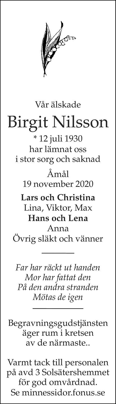 Birgit Nilsson Death notice