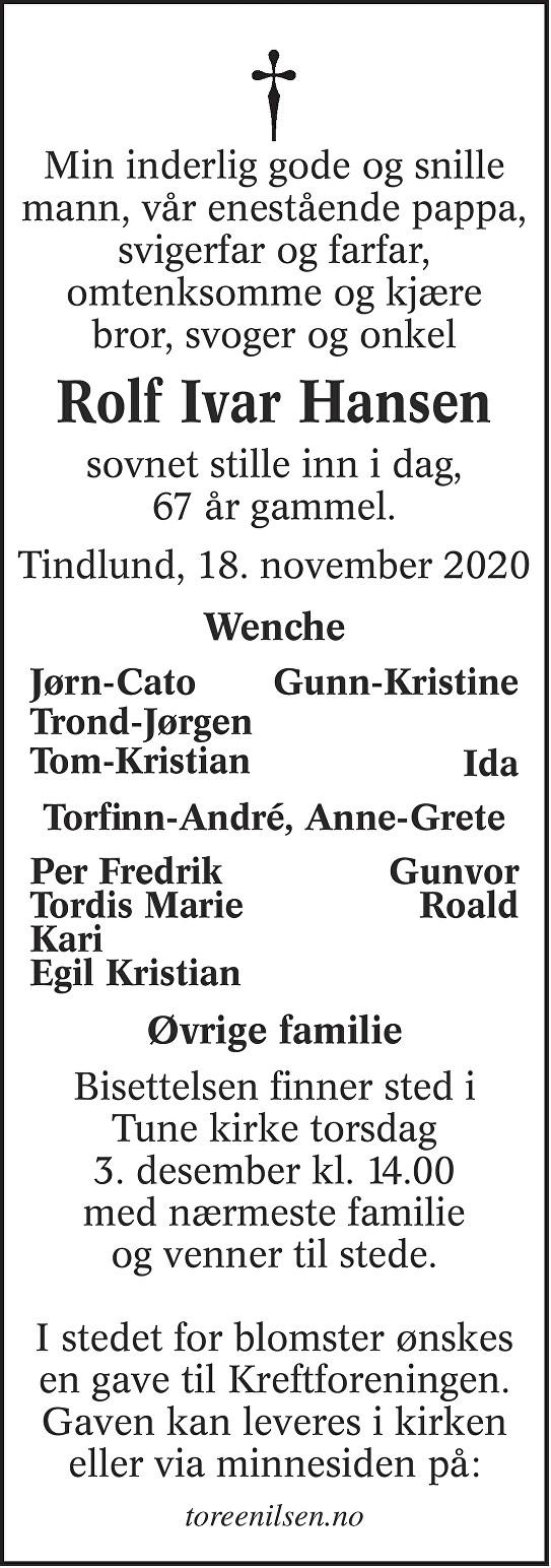 Rolf Ivar Hansen Dødsannonse