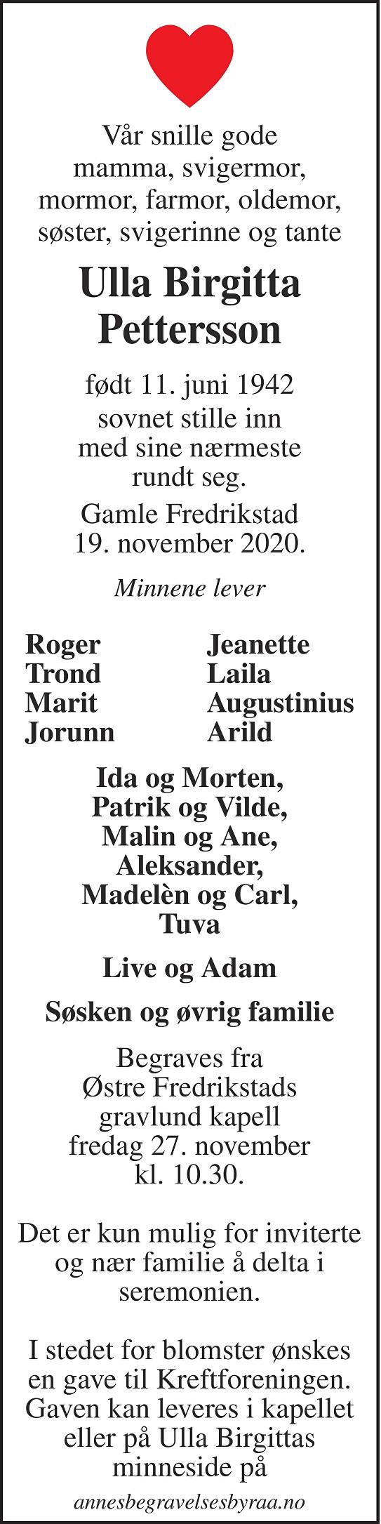 Ulla Birgitta Petterson Dødsannonse