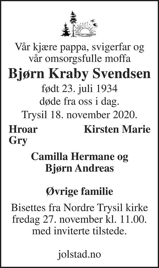 Bjørn Kraby Svendsen Dødsannonse