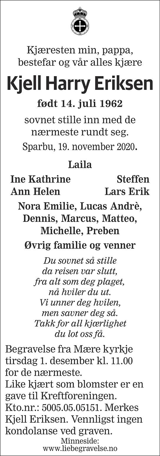 Kjell Harry Eriksen Dødsannonse