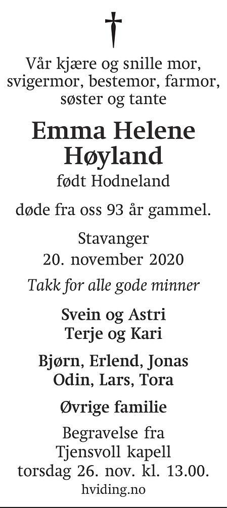 Emma Helene Høyland Dødsannonse