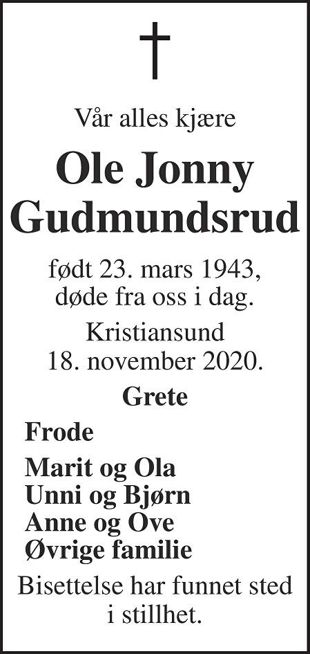 Ole Jonny Gudmundsrud Dødsannonse