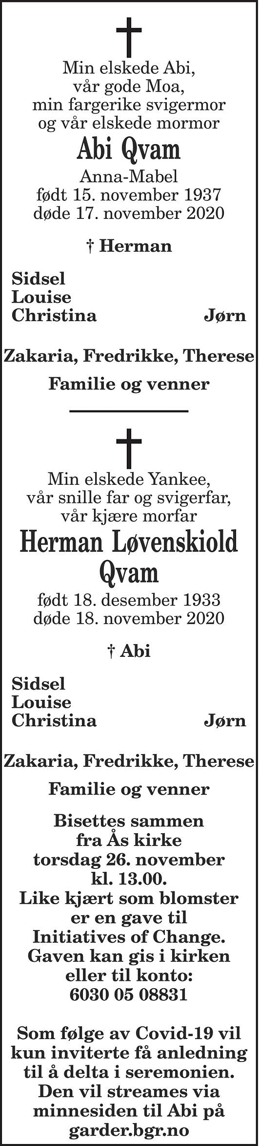 Herman Løvenskiold Qvam Dødsannonse