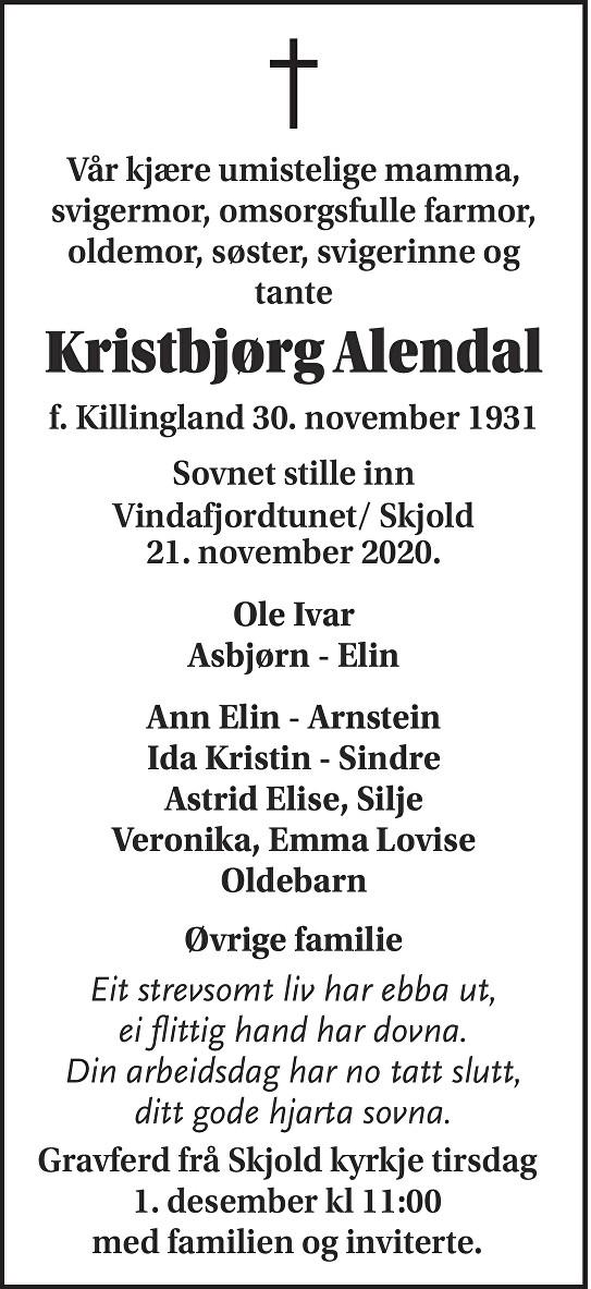 Kristbjørg Alendal Dødsannonse