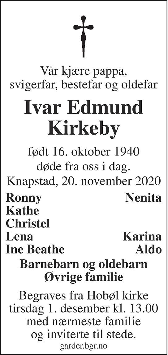 Ivar Edmund Kirkeby Dødsannonse