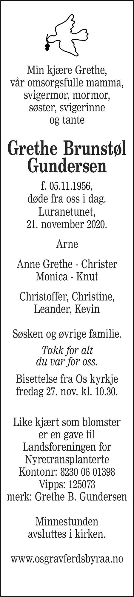 Grethe Brunstøl Gundersen Dødsannonse