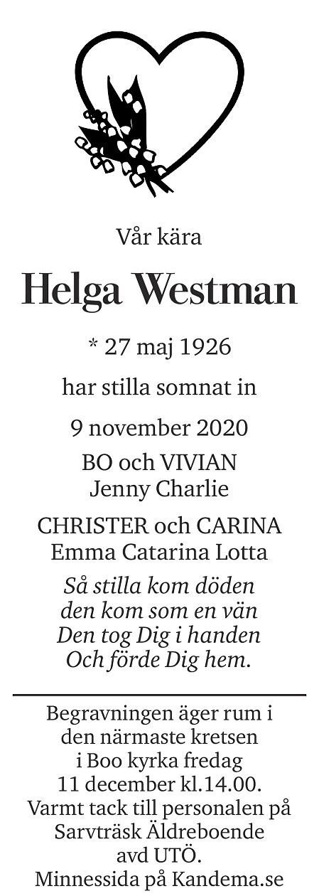 Helga Westman Death notice