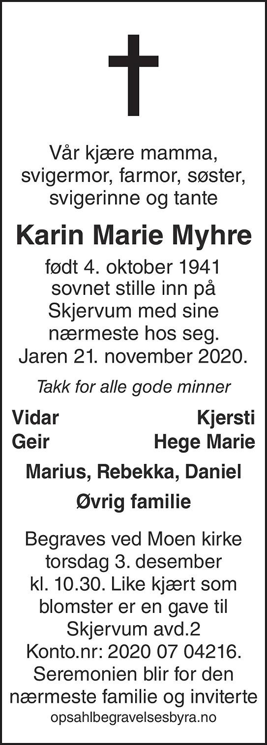 Karin Marie Myhre Dødsannonse