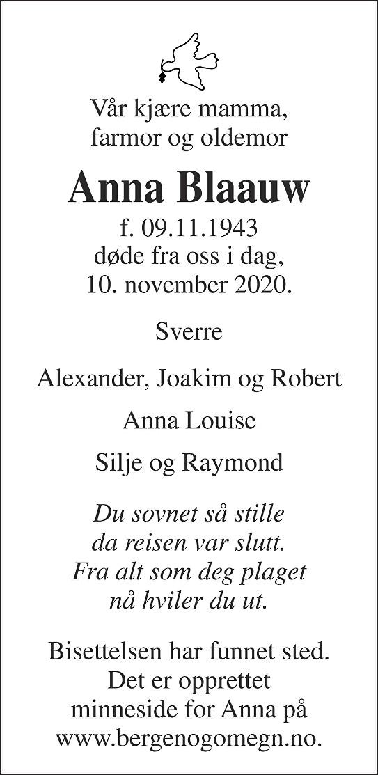 Anna Blaauw Dødsannonse