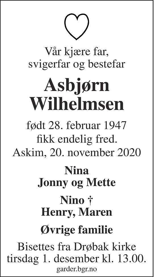 Asbjørn Wilhelmsen Dødsannonse