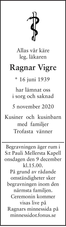 Ragnar Vigre Death notice
