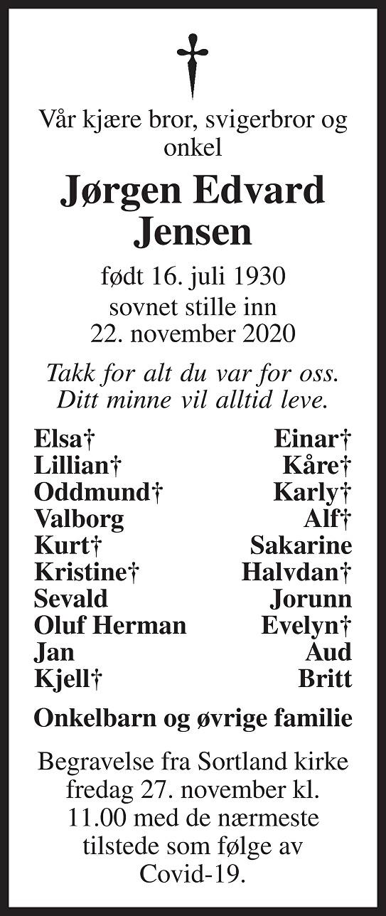 Jørgen Edvard Jensen Dødsannonse