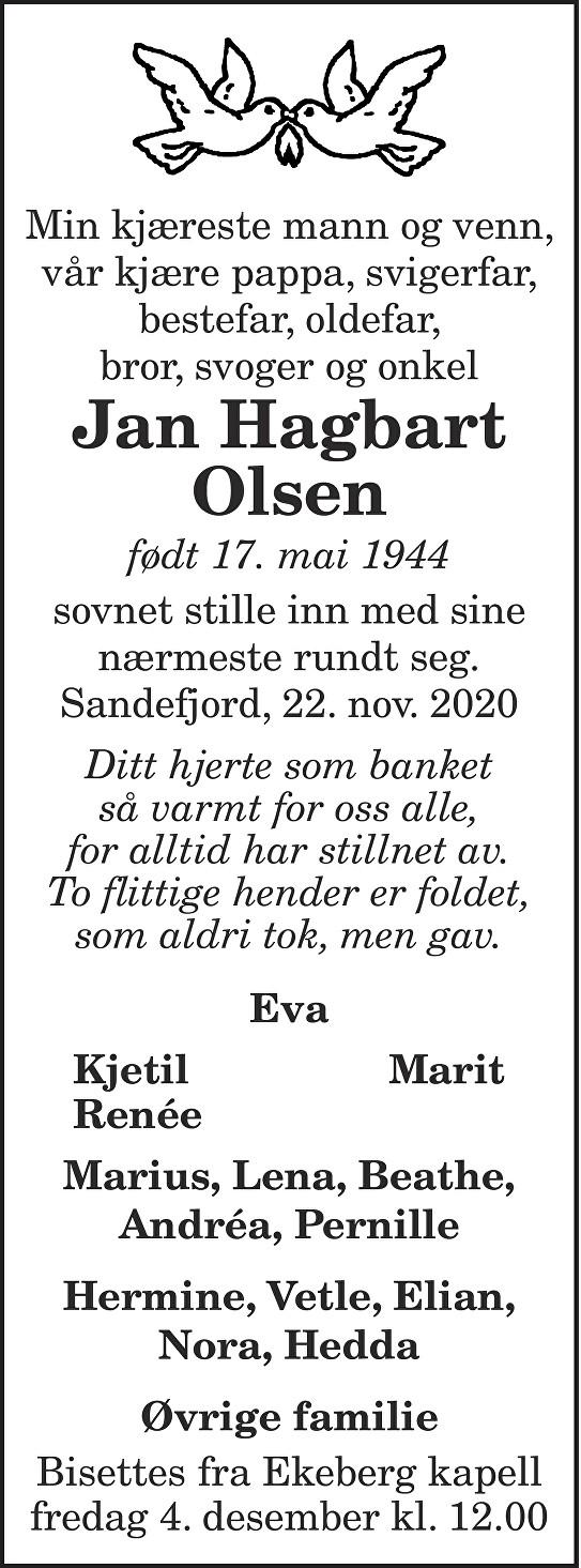 Jan Hagbart Olsen Dødsannonse