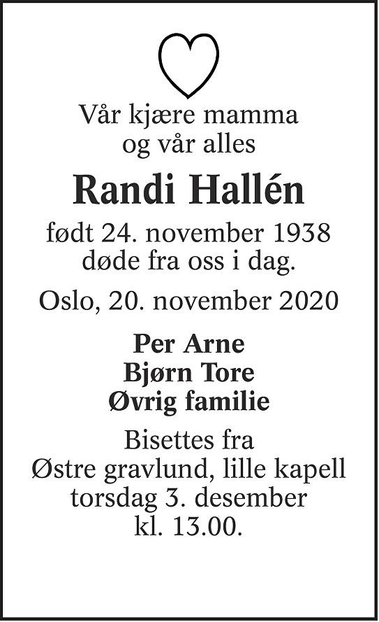 Randi Hallén Dødsannonse