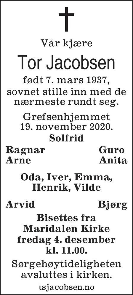 Tor Jacobsen Dødsannonse