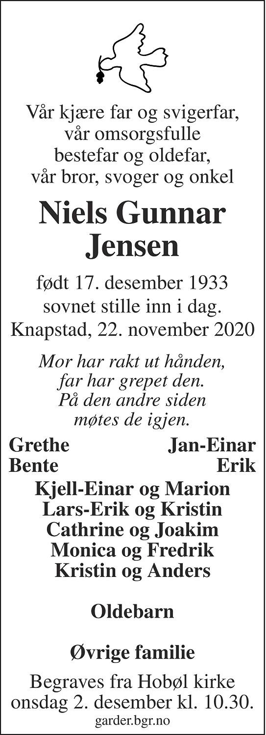 Niels Gunnar Jensen Dødsannonse