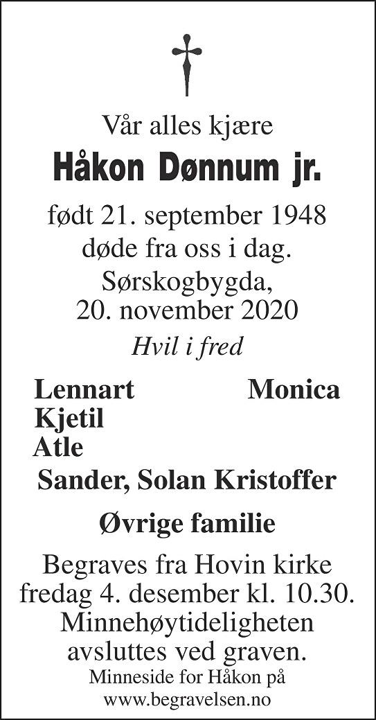 Håkon Dønnum jr. Dødsannonse