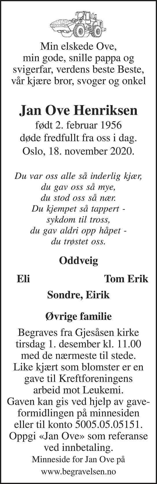Jan Ove Henriksen Dødsannonse
