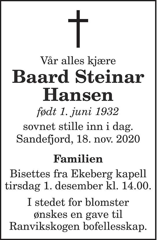 Baard Steinar Hansen Dødsannonse