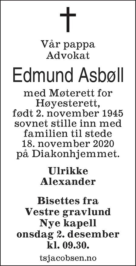Edmund Asbøll Dødsannonse