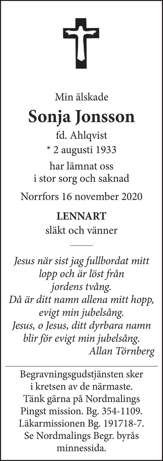 Sonja Jonsson Death notice