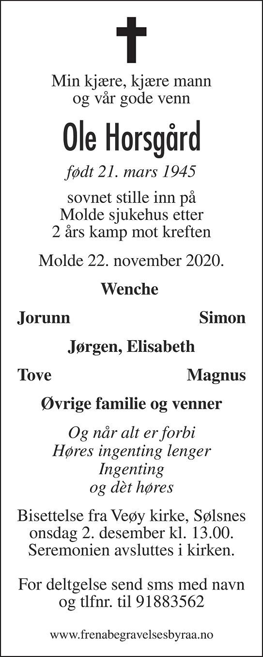Ole Horsgård Dødsannonse