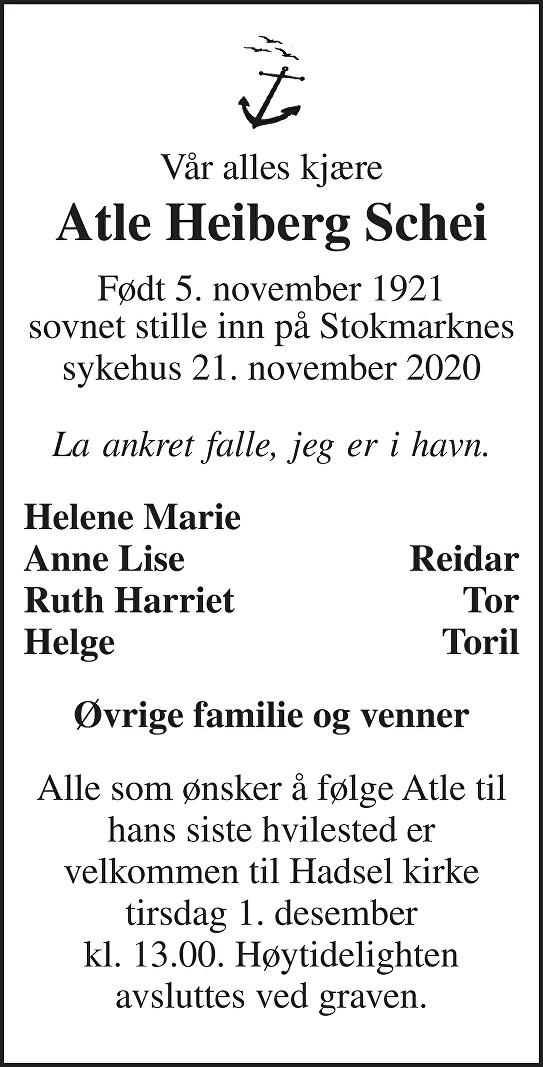 Atle Heiberg Schei Dødsannonse