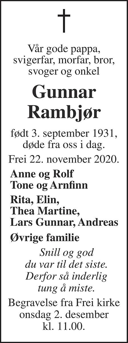 Gunnar Rambjør Dødsannonse