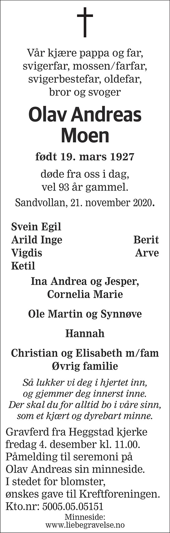 Olav Andreas Moen Dødsannonse