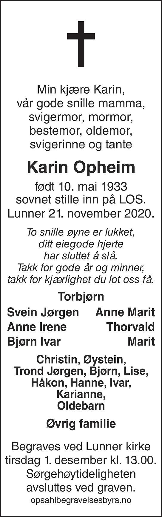 Karin Opheim Dødsannonse