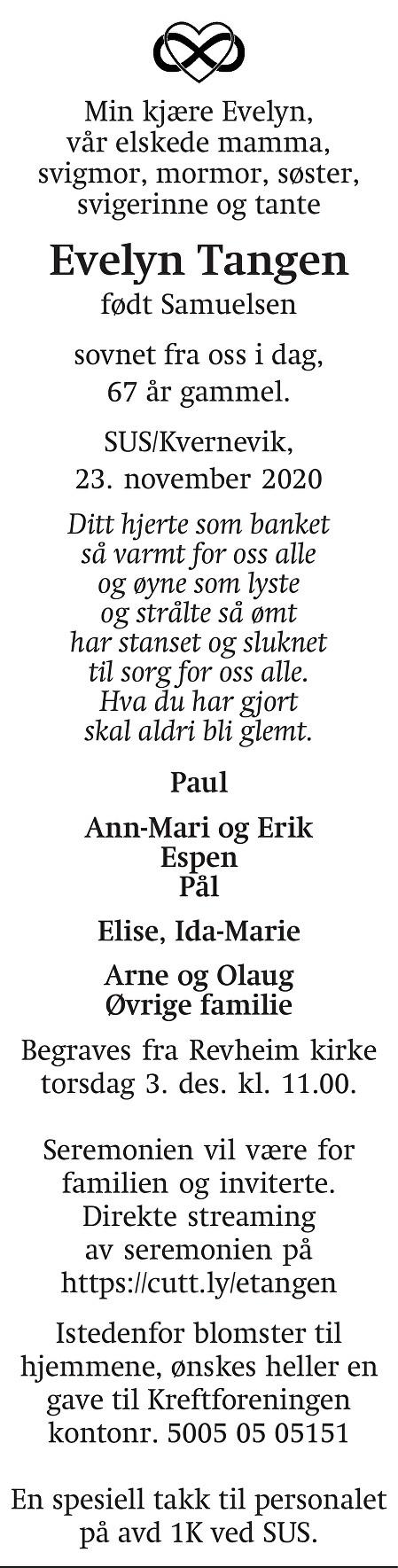 Evelyn Tangen Dødsannonse