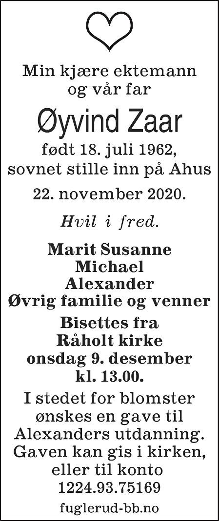 Øyvind Zaar Dødsannonse