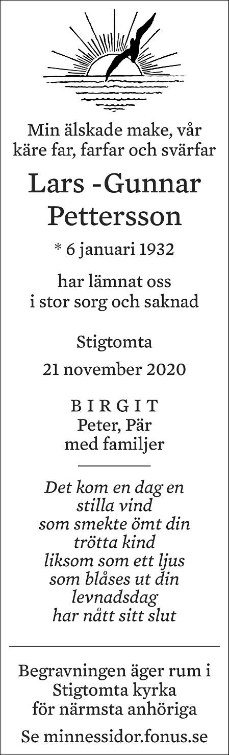 Lars -Gunnar Pettersson Death notice