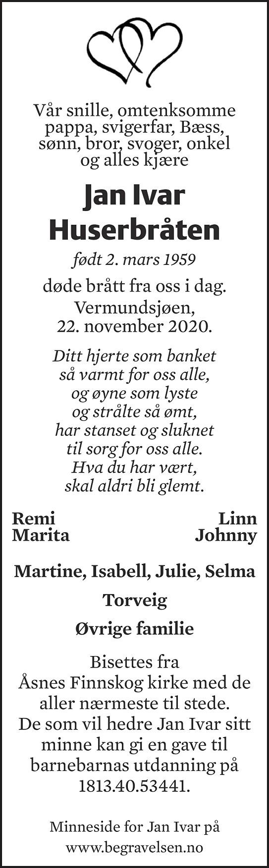 Jan Ivar Huserbråten Dødsannonse